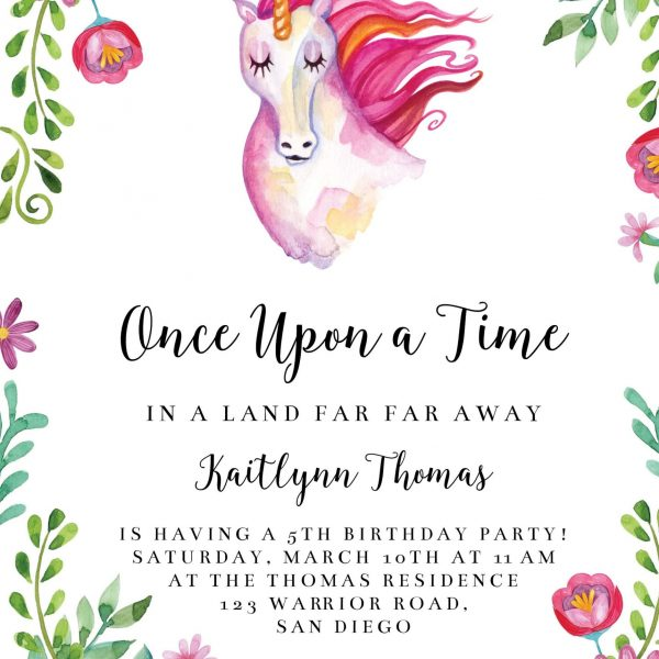 Invitatie de botez Unicorn roz