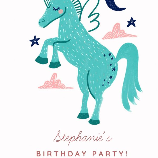 Invitatie de Botez Unicorn bleu