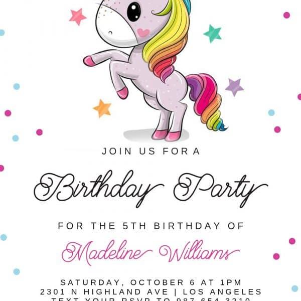 Invitatie de Botez fete Unicorn