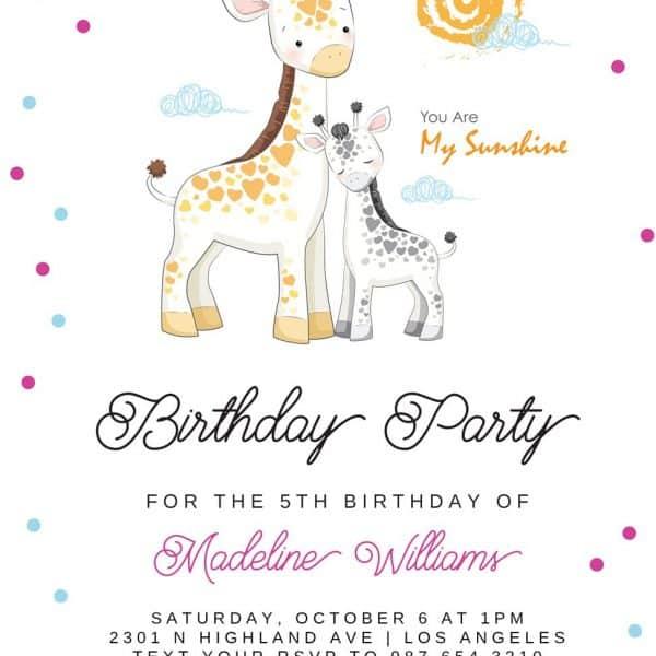 Invitatie de Botez Girafe