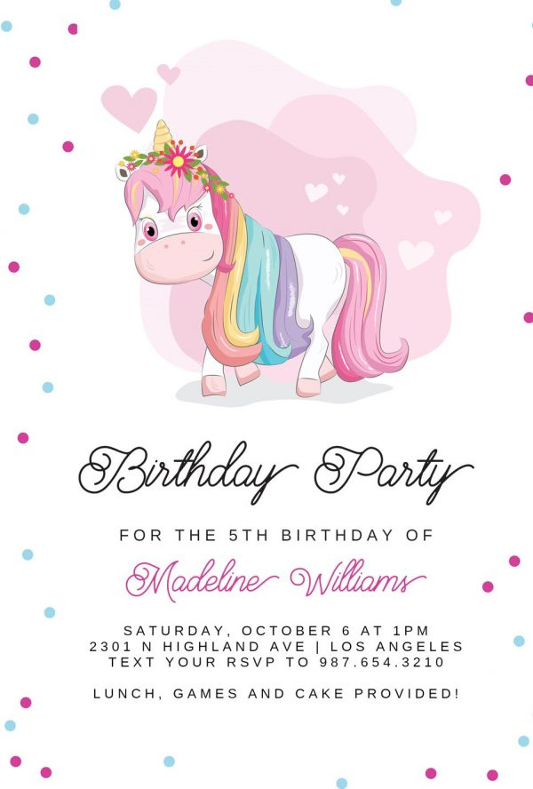 Invitatie de botez unicorn fete