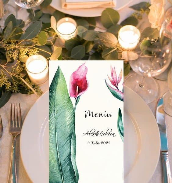 Meniu nunta floral