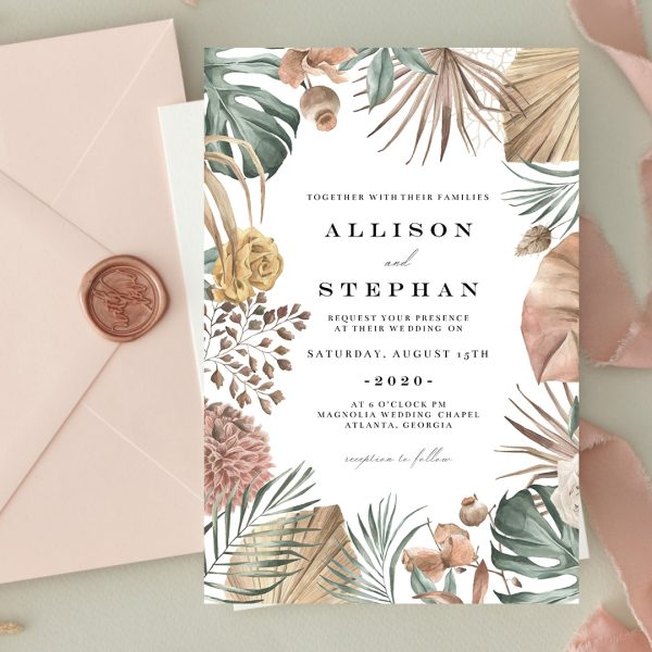 Invitatie de nunta Roz