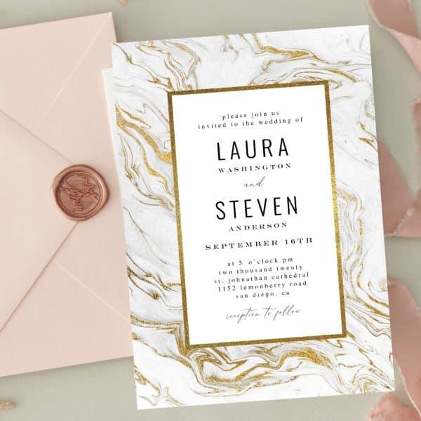 Invitatie de nunta Gold