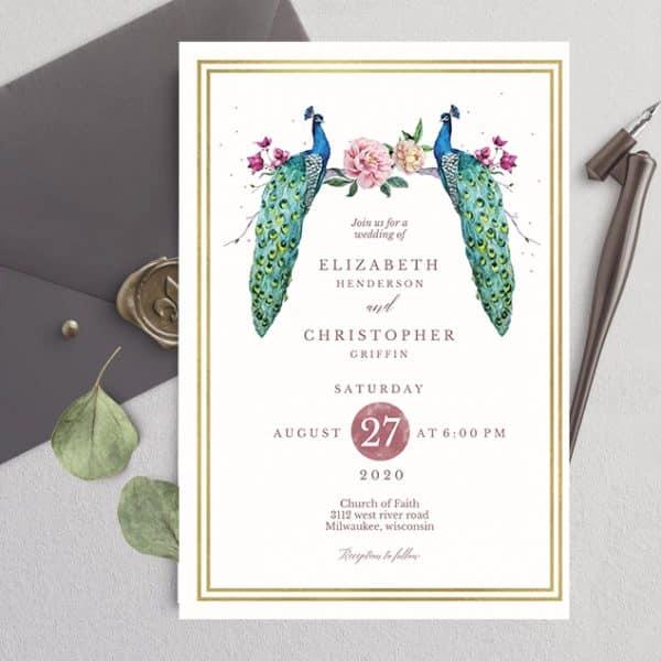 Invitatie de nunta Paun