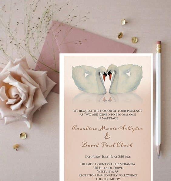 Invitatie de nunta Lebede