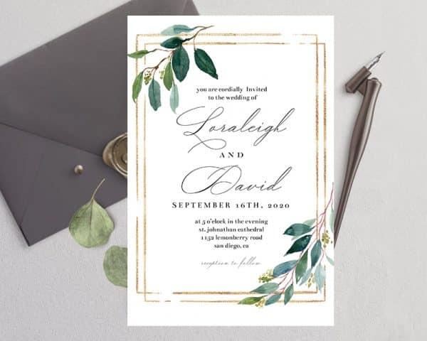 Invitatie de nunta Frunza