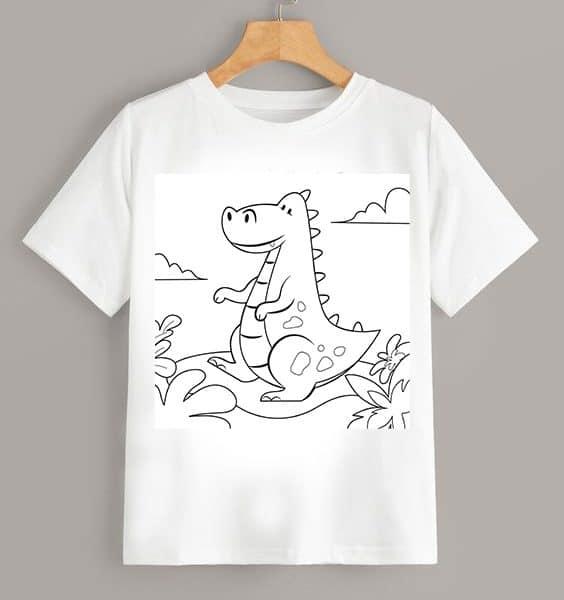 Tricou de colorat Dinozaur