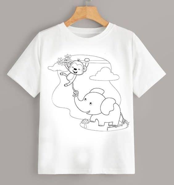Tricou de colorat Elefant
