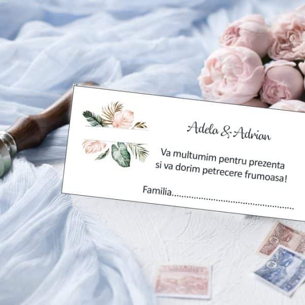Plic bani de nunta flori