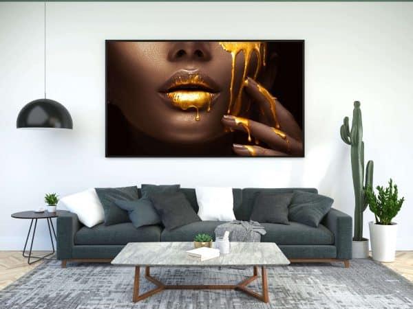 Tablou Canvas Auriu Buze